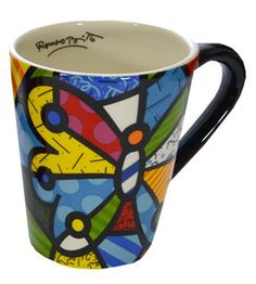 Romero Britto Mugs And Jugs, Pop Art, Graffiti, Painted Plates, Arte Pop, Cute Mugs, Mug Shots, Art Plastique, Coffee Cups
