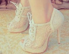 White Laced high heels