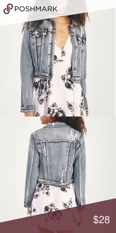 Distressed Denim Jacket This distressed acid wash denim jacket features not your ordinary denim jacket, distressed throughout and frayed at back, chest pockets, side pockets and button up closure. Layer over black denim and booties for a bad-ass look.  *BRAND NEW WITH TAGS Jackets & Coats