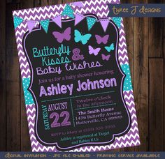 Purple & Teal Butterfly Baby Shower Invitation - Digital JPG Copy by ThreeJDesigns on Etsy https://www.etsy.com/listing/244160594/purple-teal-butterfly-baby-shower