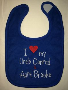 I love my Uncle & Aunt custom embroidered bib by BoutiqfullyYours