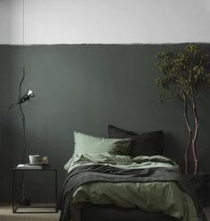 Best bedroom paint colors, Home decor trends Monochrome bedroom, Home decor trends, Bedroom green, Bedroom interior - Calling all colorobsessed decorators You& want to try this saturated trend - Green Rooms, Bedroom Green, Home Bedroom, Olive Bedroom, Bedroom Wall, Bedroom Plants, Bedroom Black, Black Bedding, Green Walls