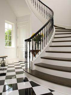 95 Ingenious Stairway Design Ideas for Your Staircase Remodel Black And White Stairs, White Staircase, Iron Staircase, Iron Stair Railing, Wrought Iron Stairs, Iron Balusters, Staircase Railings, Curved Staircase, Black And White Tiles