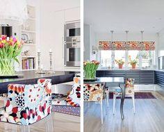 MIKS AV FARGER OG MØNSTRE: At Kielland har en forkjærlighet for farger, mønstre og strukturer kommer særlig godt frem på kjøkkenet. Lampen i taket er fra Kartell, lysestakene er arvestykker, stolene trukket i tekstil fra Missoni. Kjøkkenet fra Uno Form.