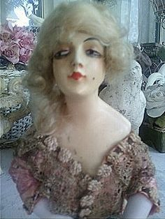 Circa 1920s, Georgeous Half Boudoir Doll with Blonde Mohair Wig. $239.99, via Etsy.  So odd!