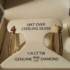 1/4 ct. Rose-cut Diamond U-Hoop Earrings NWT Victoria Townsend Rose-cut Diamond  U-Hoop Earrings (1/4 ct. Total weight) in 18k yellow gold over sterling silver. Approximate diameter: 3/4 inch. ORIGINAL PRICE: $160 BRAND NEW, NEVER WORN. Still in its original box. SMOKE-FREE home Victoria Townsend  Jewelry Earrings