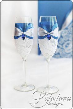 """Купить Свадебные бокалы """"Голубая лагуна"""" - голубой, свадебные бокалы, свадебные аксессуары, свадебное украшение"""