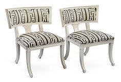 My favorite thing in my Tastemaker Tag Sale--Klismos Chairs in my Athens Charcoal fabric on OneKingsLane.com