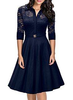 Missmay® Women's Vintage nineteen fifties Model three/4 Sleeve Black Lace Flare A-line Dress