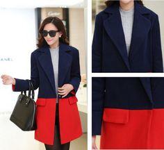 TC001045 Autumn and winter woolen coat Korean style overcoat