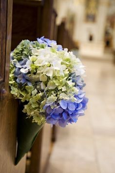 Small church wedding decoration with chairs church wedding decor pew decoration beautiful soft pew decoration in cone made with hydrangeas junglespirit Choice Image