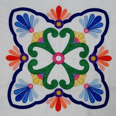 "Fiesta de Talavera -- This breathtaking quilt pattern was inspired by painted Mexican Talavera tiles. Nine 20"" applique blocks along with an applique border. Finished quilt size is 72"" x 72,"" design by J. Michelle Watts."