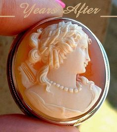 #YearsAfter GRAND Victorian Antique Carved CAMEO Brooch Pendant Lady with HARP from yearsafter on Ruby Lane