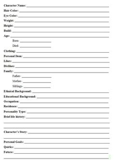 Character template