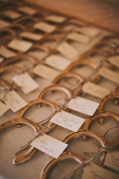 Cute idea for a rustic, country, cowboy wedding themes. Horseshoes as escort cards.