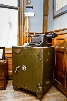 In the study of the Summit Avenue mansion, expert rehabber Nicole Curtis decorates the study with a repurposed old safe that she found in the basement and a typewrite that she got at an estate sale.
