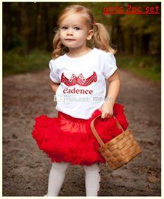2014 New Summer Girls Tutu Dress Skirt Set Girls Cotton Letter Shoe Tshirt + Girls Chiffon Red Tutu Skirt Pettiskirt =Melee From Melee, $57.6 | Dhgate.Com