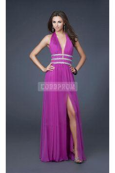 Chiffon V-neck A-line Split Front Long Halter Prom Dress