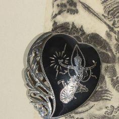 Siam Sterling Silver Heart Brooch