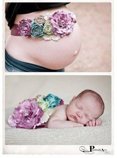 Cute before and after pregnancy idea.