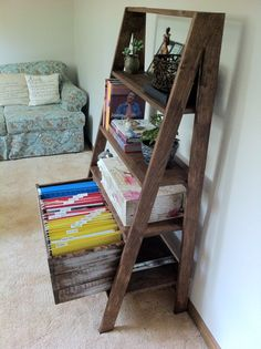 DIY ladder display shelves I love this Cute idea for a covered