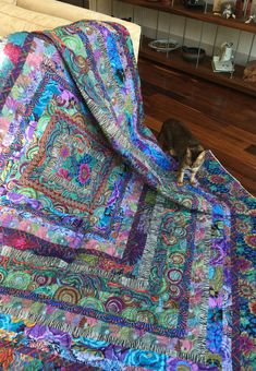 "(Also avaialble in Ice Cream) ITEMStone Log Cabin Quilt Kit From the Kaffe Fassett book ""Quilts in Italy. Please purchase the option wi Batik Quilts, Jellyroll Quilts, Easy Quilts, Scrappy Quilts, Mini Quilts, Édredons Cabin Log, Log Cabin Quilts, Quilt Kits, Quilt Blocks"