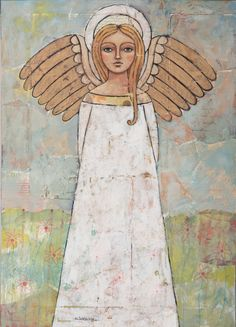 """Angel of the Meadow"" original painting on antique bread board by Teresa Kogut. #angel #flowers #mixmedia"