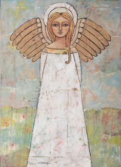 """Angel of the Meadow"" original painting on antique bread board by Teresa Kogut. #angel #flowers #mixmedia"