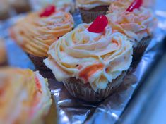 So easy and soooo good, found on line. Use FIREBALL Whiskey; program would not let me list it so just said whiskey Fireball Cupcakes, Fireball Recipes, Piping Frosting, Fireball Whiskey, Yellow Food Coloring, Cupcake Liners, Cupcake Recipes, Sweets, Baking