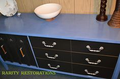 Periwinkle blue and ebony stained credenza Periwinkle Blue, Rarity, Credenza, Dresser, Restoration, Furniture, Home Decor, Periwinkle, Powder Room
