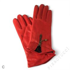 EXTRA LARGE Red colored Ladies Leather Gloves $68