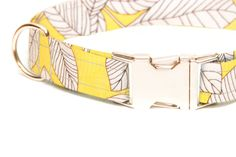 Yellow Summer Leaf Patterened Dog Collar
