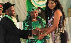 #Nollywood star actress, Omotola J. Ekeinde, is seen here receiving a National Honor Award (MFR) #Nigeria   Read more: http://www.nollywoodsocial.net/?p=68