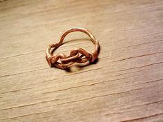 Organic Hammered Swirl Copper Ring Wire by JennieVargasJewelry,