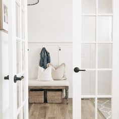 Modern Farmhouse Entry - Bench, Board And Batten, Doors images ideas from Best Door Photos Collection Modern Farmhouse Lighting, Curtains Living Room, Farmhouse Paint, Home Decor, Farmhouse Style Kitchen, Board And Batten, Neutral Paint Colors, Farmhouse Paint Colors, Modern Decor