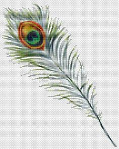 Peacock Feather - Mini Cross Stitch CHART on Etsy, $5.31 CAD