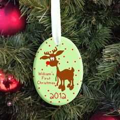 Personalised Baby Reindeer First Christmas Decoration - Personalised Gifts & Presents - Buy From Strictly Gifts Ceramic Christmas Decorations, Personalised Christmas Baubles, Reindeer Decorations, Christmas Themes, Holiday Crafts, Christmas Ornaments, Xmas, Reindeer Christmas, Personalized Baby Gifts