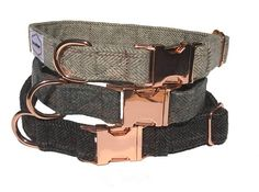 Bailey Dog Collar  Gray plaid with rose gold buckle