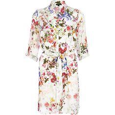 Cream floral print shirt dress €60.00