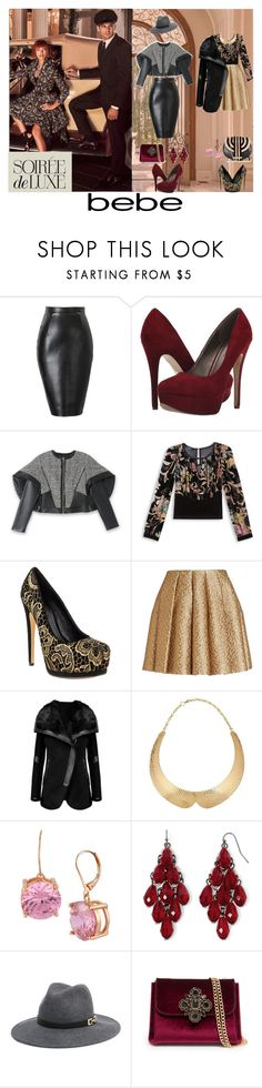 """Soirée de Luxe with bebe Holiday: Contest Entry"" by jan-fr on Polyvore featuring Bebe, Michael Antonio, Truth or Dare, Creatures Of The Wind, Betsey Johnson, Mixit and Salvatore Ferragamo"