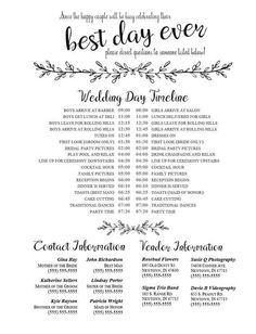Editable Wedding Timeline - Edit in Word - Phone numbers and timeline - Day of Wedding Schedule - Wedding Day Itinerary, Wedding Day Schedule, Plan Your Wedding, Wedding Tips, Trendy Wedding, Wedding Planner, Dream Wedding, Gold Wedding, Wedding Details
