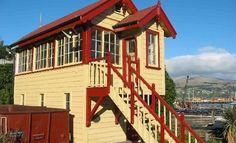 The historic railway signal box. Lyttelton, New Zealand. New Zealand South Island, Best Travel Deals, Create Space, Tiny Living, Australia, Tiny Houses, House Styles, Box, Places