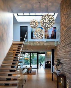 Love. #homeinspo #homedesign #homeideas #modernstaircase #woodenstairs #exposedbrick by interiordandd http://discoverdmci.com