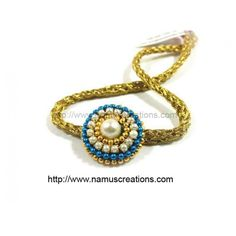 Blue And Golden Ball chain With Moti Combination Rakhi