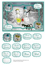 Christmas card snowman scene with family tags on Craftsuprint - View Now!