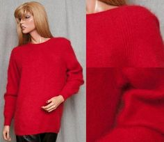 SOLD! on Ebay VINTAGE 80S 45% ANGORA SUPER FUZZY SOFT RAFAELLA SWEATER BOMBSHELL PINUP OVERSIZED MEDIUM
