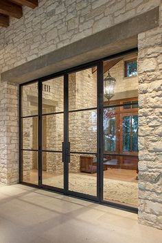 Glass doors entrance that match glass walls. The Doors, Entrance Doors, Patio Doors, Windows And Doors, Sliding Doors, Carport Modern, Steel Windows, Exterior Doors, Architecture Details