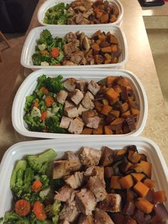 Chicken w/ sweet potatoes and broccoli.