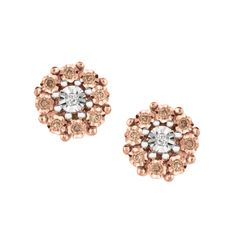 Cappuccino Cluster Stud Earring from Rarest Rainbow Fine Jewelry