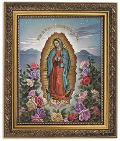Spanish Our Lady Of Guadalupe With Roses Print In Ornate Frame